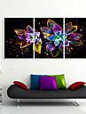 e-FOYER etire conduit impression sur toile art fleurs lumineuses LED clignotante fibre optique print ensemble de trois