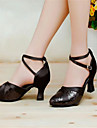 Chaussures de danse(Noir Violet Rouge Argent Or) -Non Personnalisables-Talon Bottier-Satin-Moderne