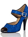 Women\'s Dance Shoes Latin Satin Flared Heel Black/Blue/Purple