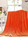 Korallfleece Orange,Tryckt Enfärgad Bomull/Polyester filtar W79XL91inch(W200XL230cm)