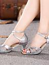 Chaussures de danse (Bleu/Rouge/Argent/Or) - Non personnalisable - Gros talon - Cuir verni - Danse latine