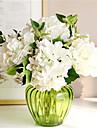 six hygrangeas blanches fleurs artificiel avec vase