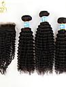 3 buntar peruanska kinky lockigt jungfru hår med stängning obearbetat människohår väva och fria nedläggningar / mellersta delen spets
