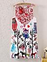 De las mujeres Corte Bodycon Vestido Floral Mini Escote Redondo Poliester