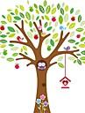 ugglor leker på färgglada träd vägg klistermärke för barnrum zooyoo7223 dekorativa flyttbar pvc väggdekal
