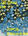 SS30 20pcs/lot 6.0mm-6.5mm Light Blue Color Opal Rhinestone for Women Nail Jewelry Golden Point Back