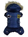 Hundar Kappor / Huvtröjor / Jumpsuits Röd / Blå / Brun Hundkläder Vinter Polis/Militär Mode / Håller värmen
