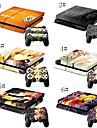 une piece& combo de bande dessinee peau souple pour console de jeux PS4& 2 peaux de controleur de jeu PS4
