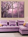 e-Home® sträckta canvas konst full blom dekorationsmåleri uppsättning 4