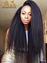 """8""""-26"""" Peruvian Virgin Hair Kinky Straight Glueless Full Lace Wig Color Black With Baby Hair for Black Women"""