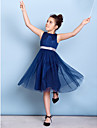 Lanting Bride Knee-length Tulle Junior Bridesmaid Dress A-line Jewel with Draping / Sash / Ribbon / Sequins