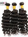 """3st mycket 12 """"-30"""" obearbetade mongoliska djupa våg lockiga jungfru hårwefts naturligt svart rå remy människohår väva buntar"""