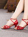 Non Customizable Women\'s Dance Shoes Latin Satin/Paillette Cuban Heel More Colors