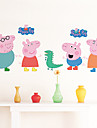 stickers muraux de style de decalcomanies de Wall Mur peppa pvc de porc autocollants