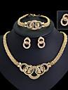 Bijoux Colliers decoratifs / Boucles d\'oreille / Anneaux / Bracelet Mariage / Soiree Zircon 1set Femme Dore Cadeaux de mariage