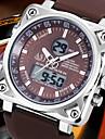 Bărbați Ceas de Mână Quartz Quartz Japonez LCD Calendar Cronograf Rezistent la Apă Zone Duale de Timp alarmă Cauciuc Bandă NegruAlb Negru