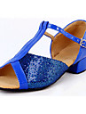 Non Customizable Women\'s/Kids\' Dance Shoes Latin /Paillette Flat Heel Blue/Red/Silver/Gold