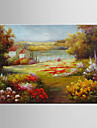 HANDMÅLAD Landskap / Blommig/BotaniskModerna / Europeisk Stil En panel Kanvas Hang målad oljemålning For Hem-dekoration