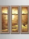 peinture a l\'huile decoration marine abstrait peint a la main lin naturel avec la main tendue encadree - ensemble de 3