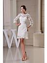 A-line Wedding Dress - White Knee-length Jewel Lace