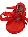 Chaussures de danse (Marron/Rouge) - Non personnalisable - Talon plat - Satin - Ventre/Ballet/Yoga/Gymnastique