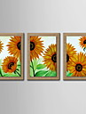 Oil Painting Decoration Abstract Sunflower Hand Painted Natural linen with Stretched Framed - Set of 3