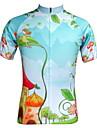 JESOCYCLING® Maillot de Cyclisme Femme Manches courtes Velo Respirable Sechage rapide Resistant aux ultraviolets Zip frontal Poche arriere
