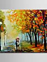 HANDMÅLAD LandskapModerna / Europeisk Stil En panel Kanvas Hang målad oljemålning For Hem-dekoration