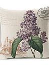 lantlig stil lila blommor mönstrade bomull / linne dekorativa kuddöverdrag