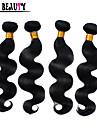 """4st / lot 8 """"-28"""" malaysiska jungfru hårförlängningar naturligt svart vågigt 100% människohår buntar drottning hårprodukter"""
