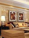 oljemålning modern abstrakt stilleben blomma handmålade naturliga linne med sträckta inramat - set om 2