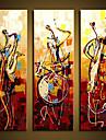 ручная роспись стен искусство Abstrac домашнего декора играют на музыкальных инструментах маслом на холсте 3шт / не установлен без рамки