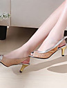 Zapatos de mujer - Tacon Stiletto - Tacones / Punta Abierta - Sandalias - Vestido - Semicuero - Negro / Azul / Rosa / Plata / Oro