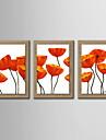 oljemålning dekoration abstrakt blomma handmålade naturliga linne med sträckta inramat - uppsättning av 3