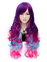 mode min lilla regnbåge långa hår peruker modet lockigt cosplay parti peruk