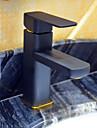 Art Deco/Retro Hål med bredare avstånd Singel Handtag Ett hål in Målning Badrum Sink kran