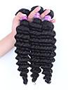 3pcs cheveux noirs lot non transformes cheveux vierge vague profonde bresilien Extensions de cheveux humains naturel tisse