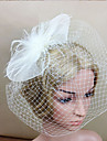 Women Feather/Net White Bowknot Flowers/Birdcage Veils With Wedding/Party Headpiece
