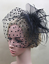 Women Feather/Net Bride Dots Flowers/Birdcage Veils With Wedding/Party Headpiece Black