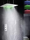 Robinet de douche - Contemporain - LED / Thermostatique / Douche pluie / Douchette inclue - Laiton (Chrome)