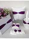 Wholesale Purple satin Wedding Ring Pillow garter rhinestone wedding favor(5 Pieces)