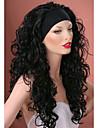 3/4 peruker med pannband långt lockigt svart syntetiskt hår peruk