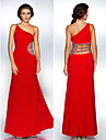 Formal Evening/Military Ball Dress - Ruby Sheath/Column One Shoulder Floor-length Polyester