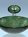 Nutida T1.2×Φ42×H14.5cm(T0.47×Φ16.54×H5.71 inch) Rund sink Material är Härdat GlasBadrums sink / Badrumskran / Badrums Monteringssing /
