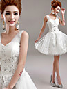 A-line Wedding Dress Little White Dress Short / Mini V-neck Tulle with Appliques Beading
