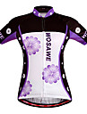 WOSAWE Maillot de Cyclisme Femme Manches courtes Velo Respirable Sechage rapide Pare-vent Maillot Hauts/Tops Polyester 100 % Polyester