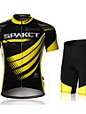 SPAKCT Men's Cycling suit (Jersey+shorts) Short Sleeve Breathable Black,Yellow Polyester+Polyamide+Spandex
