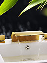 Contemporary Waterfall Brass Ti-PVD Bathroom Sink Faucets