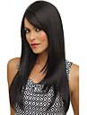 mode Capless hög kvalitet ganska medel rakt svart hår peruk