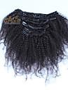 peruanska jungfru hår afro kinky lockigt klipp i mänskliga hårförlängningar 7st / set fullt huvud set naturligt svart färg